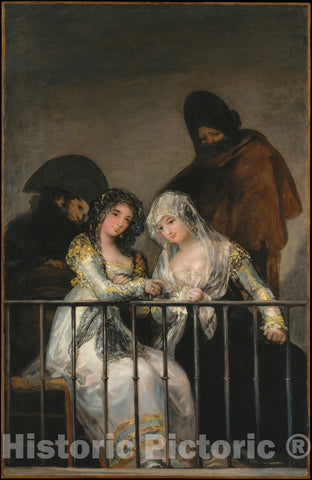 Art Print : Goya - Majas on a Balcony : Vintage Wall Art