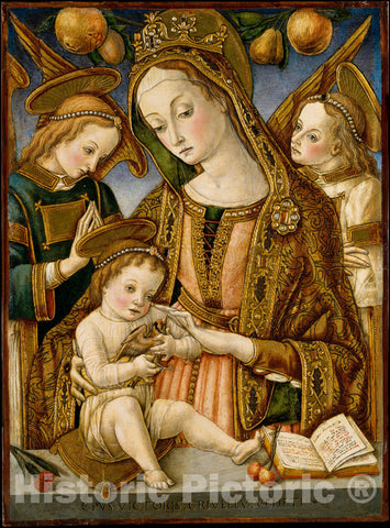 Art Print : Vittore Crivelli - Madonna and Child with Two Angels : Vintage Wall Art