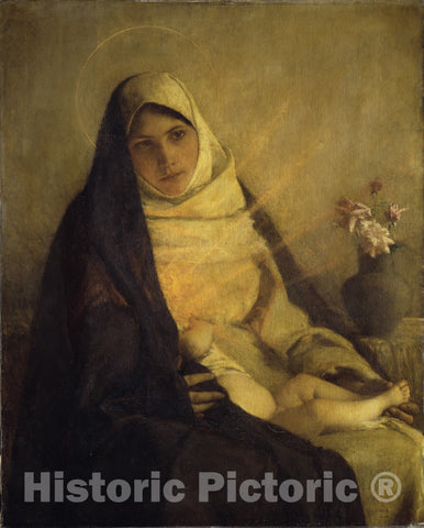 Art Print : Pascal-Adolphe-Jean Dagnan-Bouveret - Madonna of The Rose : Vintage Wall Art