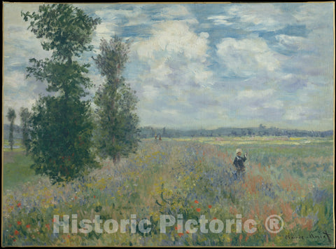 Art Print : Claude Monet - Poppy Fields Near Argenteuil : Vintage Wall Art