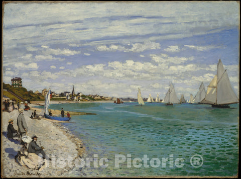 Art Print : Claude Monet - Regatta at Sainte-Adresse : Vintage Wall Art