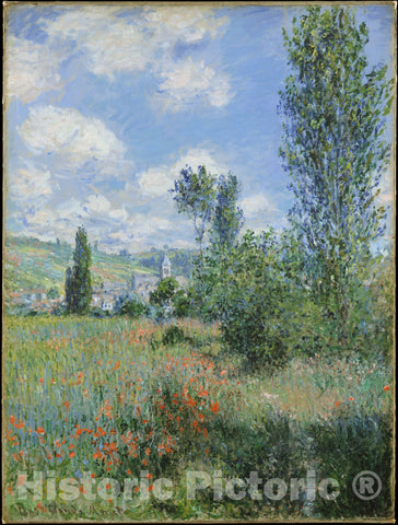 Art Print : Claude Monet - View of Vétheuil : Vintage Wall Art