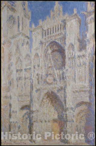 Art Print : Claude Monet - Rouen Cathedral: The Portal (Sunlight) : Vintage Wall Art