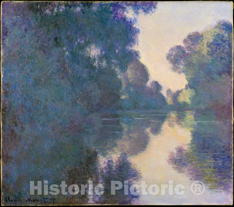 Art Print : Claude Monet - Morning on The Seine Near Giverny : Vintage Wall Art