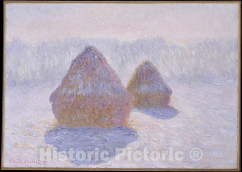Art Print : Claude Monet - Haystacks (Effect of Snow and Sun) : Vintage Wall Art