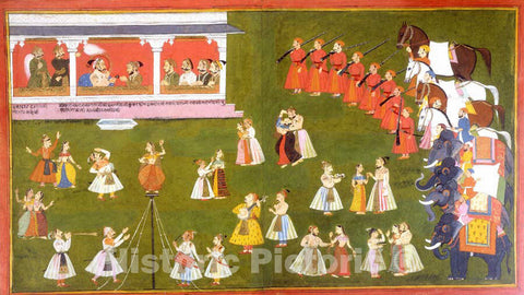 Art Print : Maharana Amar Singh II, Prince Sangram Singh and Courtiers Watch a Performance : Vintage Wall Art