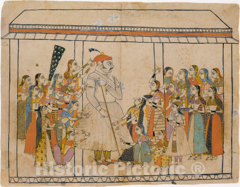 Art Print : Maharaja Raj Singh Adored by His Ladies : Vintage Wall Art