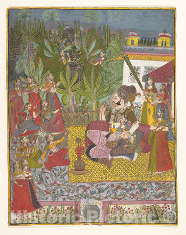 Art Print : Maharaja Bijay Singh in His Harem : Vintage Wall Art