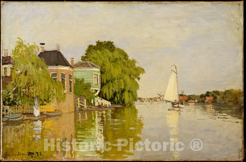 Art Print : Claude Monet - Houses on The Achterzaan : Vintage Wall Art