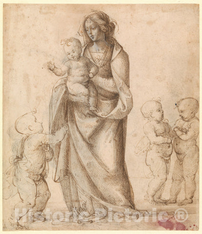 Art Print : Madonna and Child with The Infant Saint John The Baptist and Two Putti - Artist: Fra Bartolomeo (Bartolomeo di Paolo del Fattorino) - 1505–6 : Vintage Wall Art