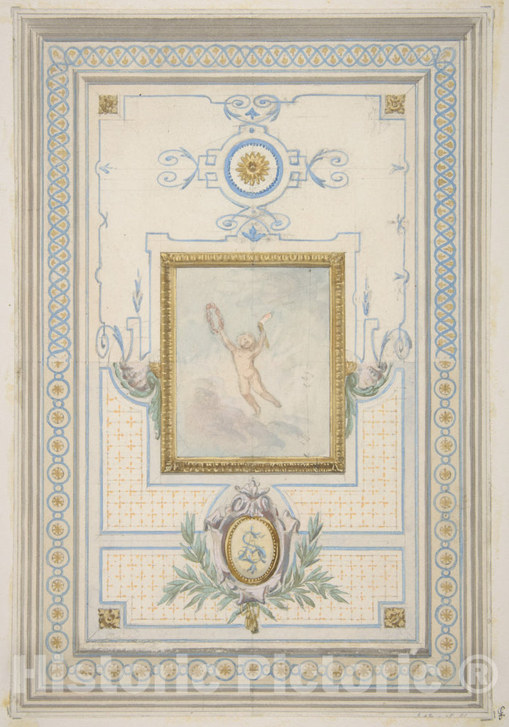 Art Print : Jules-Edmond-Charles Lachaise - Design for The Painted Decoration of a Ceiling with The Monogram: AS : Vintage Wall Art
