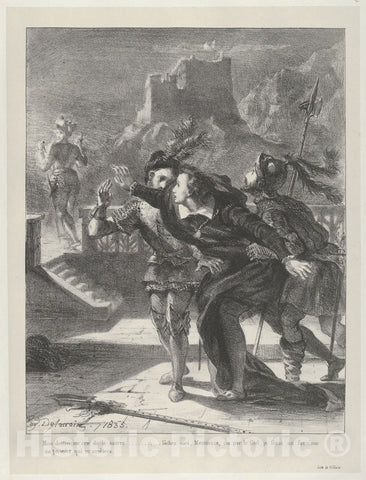 Art Print : Eugène Delacroix - Hamlet Tries to Follow His Father's Ghost : Vintage Wall Art