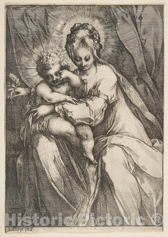 Art Print : Jacques Bellange - Madonna with a Rose : Vintage Wall Art