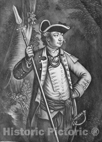 Art Print : Anonymous, British, 18th Century - Major General John Sullivan : Vintage Wall Art