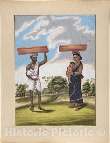Art Print : Indian, 19th Century - Mad-Seller, in Malabar Cast, from Indian Trades and Castes : Vintage Wall Art