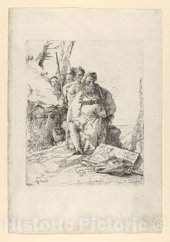 Art Print : Giovanni Battista Tiepolo - Magician with Four Figures Near a Smoking Altar, from The Scherzi : Vintage Wall Art