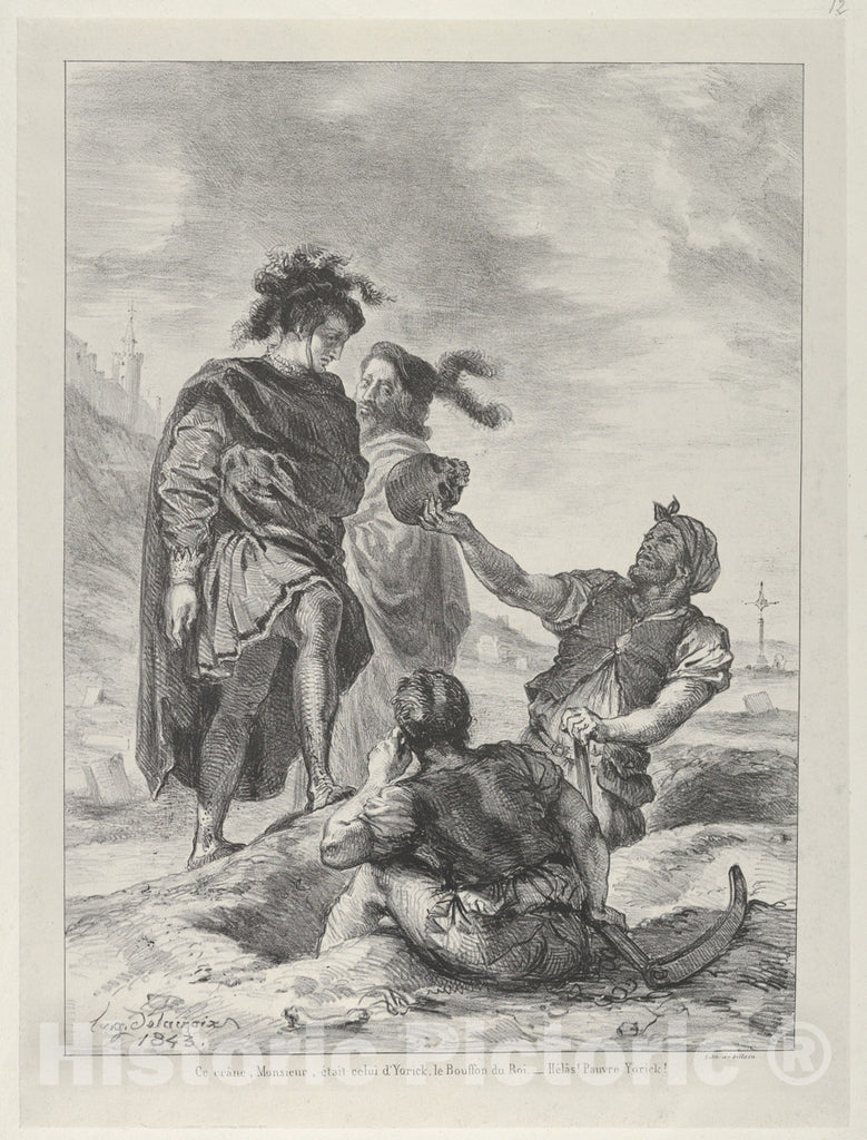 Art Print : Eugène Delacroix - Hamlet and Horatio Before The Gravediggers : Vintage Wall Art