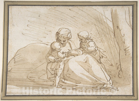 Art Print : Luca Cambiaso - Madonna and Child with The Infant Saint John : Vintage Wall Art