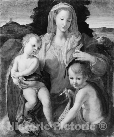 Art Print : Painting - Italian (Florentine) Painter - Madonna and Child with The Young Saint John The Baptist : Vintage Wall Art