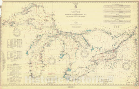 Historic Nautical Map - General Chart Of The Northern And Northwestern Lakes Including New York State Canals And Lake Champlain, 1921 NOAA Chart - Vintage Wall Art