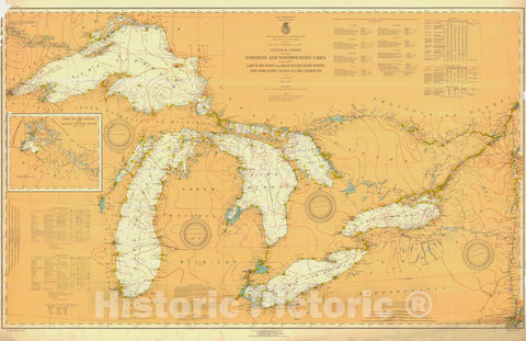 Historic Nautical Map - The Northern And Northwestern Lakes Including Lake Of The Woods And Waters New York State Canals And Lake Champlain, 1925 NOAA Chart - Poster Wall Art Reprint - 0
