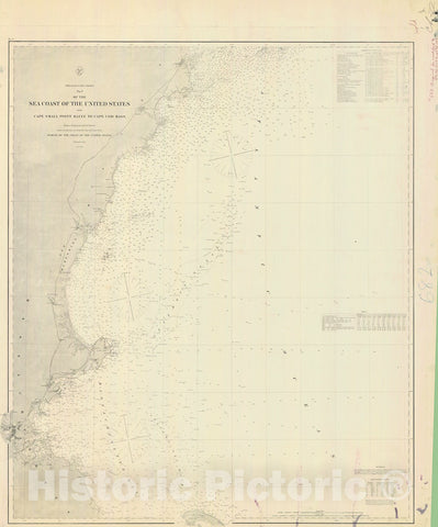 Historic Nautical Map - No 3 Of The Sea Coast Of The United States From Cape Small Point Maine To Cape Cod Mass, 1868 NOAA Chart - Vintage Wall Art