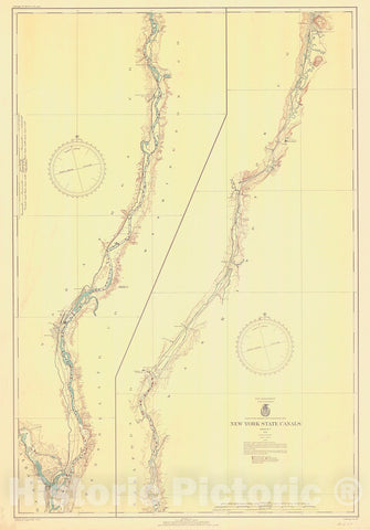Historic Nautical Map - New York State Canals, 1936 NOAA Chart - Vintage Wall Art