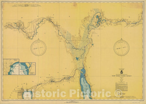 Historic Nautical Map - New York State Canals, 1942 NOAA Chart - Vintage Wall Art