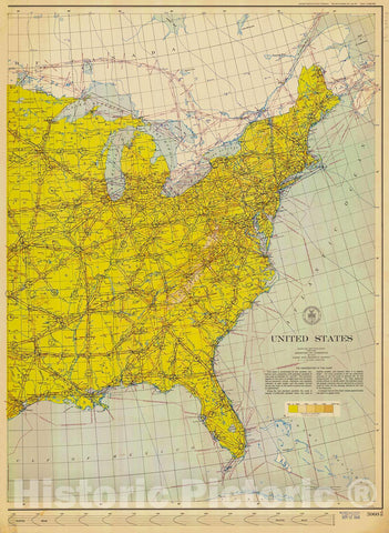 Historic Nautical Map - Map Of The United States Pt. 2, 1954 AeroNOAA Chart - West Virginia, New York, Pennsylvania, Maryland (WV, NY, PA, MD) - Vintage Wall Art