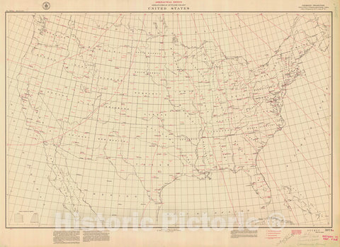 Historic Nautical Map - Great Circle Outline Chart United States, 1941 NOAA Chart - Maine, California, Washington, Florida (ME, CA, WA, FL) - Vintage Wall Art