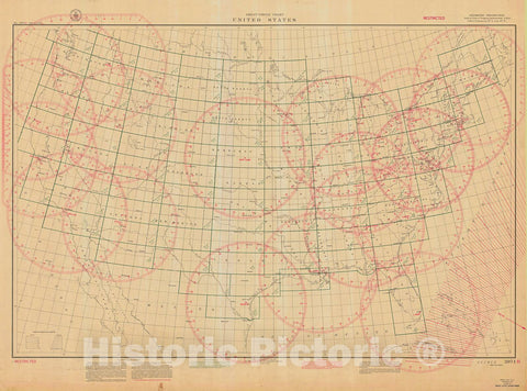 Historic Nautical Map - Great Circle Chart United States, 1941 NOAA Chart - Maine, California, Washington, Florida (ME, CA, WA, FL) - Vintage Wall Art