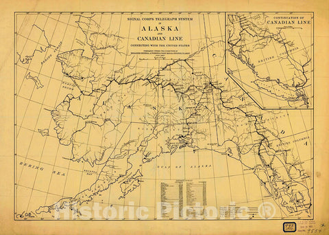 Historic Nautical Map - Signal Corps Telegraph System In Alaska And Canadian Line Connecting With The United States, 1903 NOAA Cartographic - Alaska (AK) - Vintage Wall Art