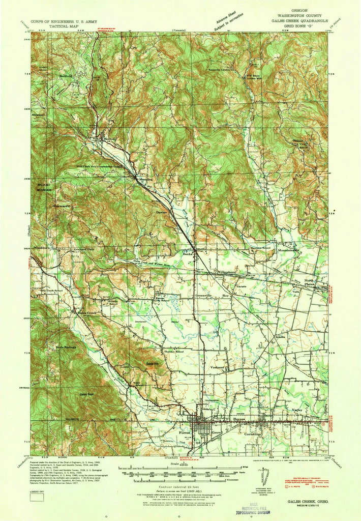 1941 Gales Creek, OR - Oregon - USGS Topographic Map