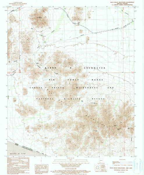 1990 Aguaulce Mountains, AZ - Arizona - USGS Topographic Map