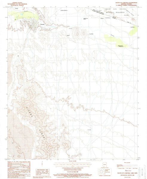 1988 South of Lukeville, AZ - Arizona - USGS Topographic Map