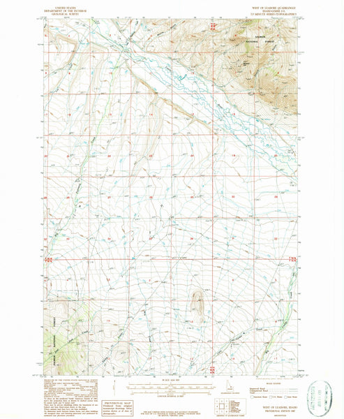 1987 West of Leadore, ID - Idaho - USGS Topographic Map