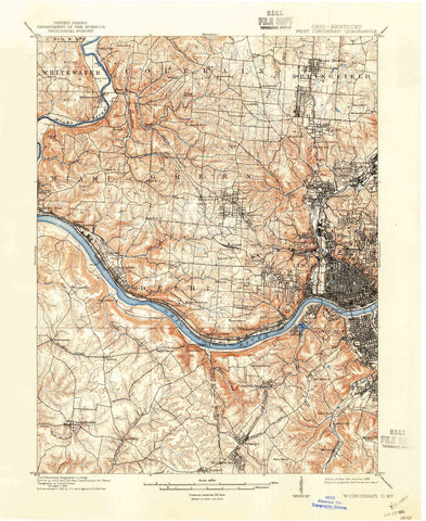 1914 West Cincinnati, OH - Ohio - USGS Topographic Map