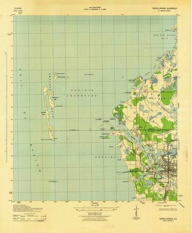 1943 Tarpon Springs, FL - Florida - USGS Topographic Map