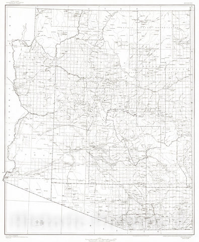 Historic Map : 1940 State of Arizona : Vintage Wall Art