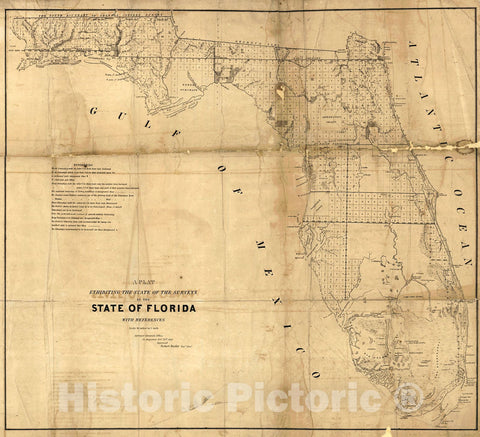 Historic Map : 1845 A Plat Exhibiting the State of the Survey in the State of Florida with References : Vintage Wall Art
