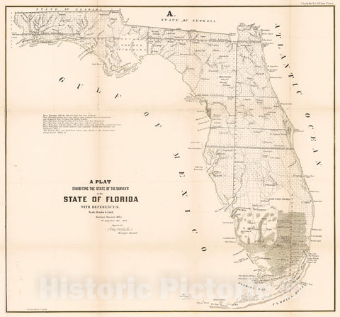 Historic Map : 1855 A Plat Exhibiting the State of the Surveys in the State of Florida : Vintage Wall Art