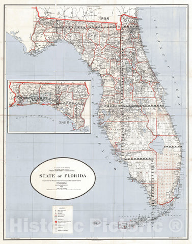 Historic Map : 1911 State of Florida : Vintage Wall Art