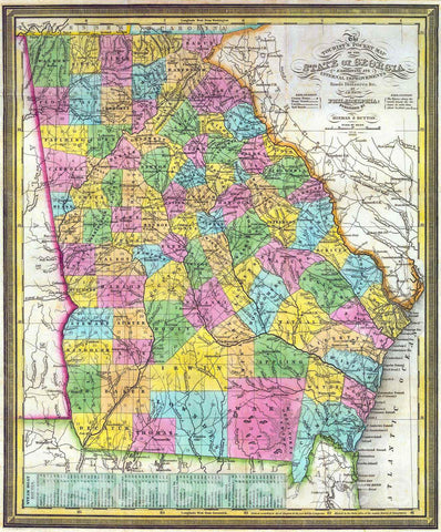 Historic Map : 1838 The Tourist Pocket Map of the State of Georgia : Vintage Wall Art