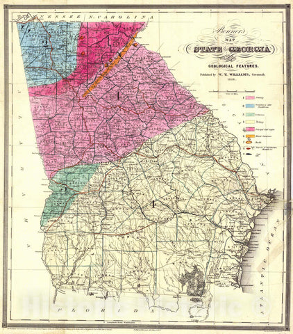 Historic Map : 1849 Bonner's Map of the State of Georgia : Vintage Wall Art