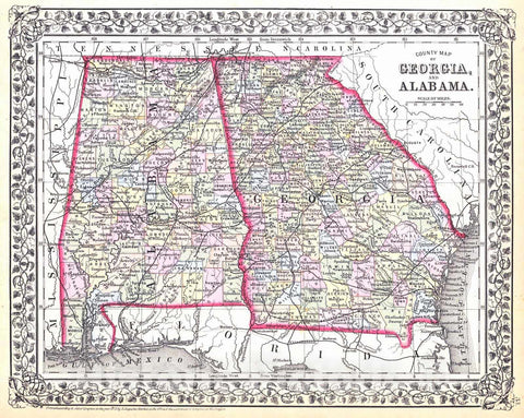 Historic Map : 1871 County Map of the States of Georgia and Alabama : Vintage Wall Art