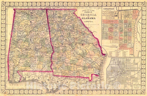 Historic Map : 1874 County Map of the States of Georgia and Alabama : Vintage Wall Art