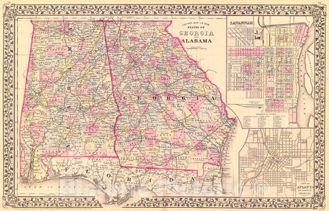 Historic Map : 1879 County Map of the States of Georgia and Alabama : Vintage Wall Art