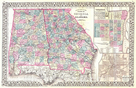 Historic Map : 1880 County Map of the States of Georgia and Alabama : Vintage Wall Art