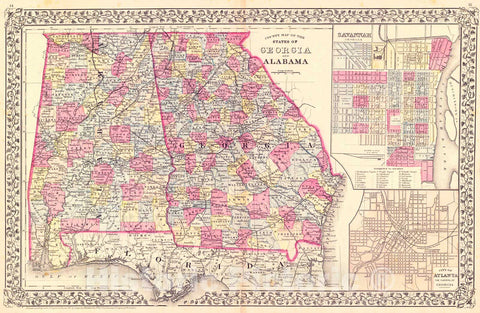Historic Map : 1881 County Map of the States of Georgia and Alabama : Vintage Wall Art