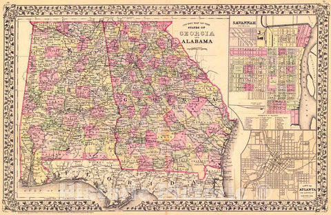 Historic Map : 1882 County Map of the States of Georgia and Alabama : Vintage Wall Art